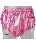 Formschöne Plastik Hose mit Druckknöpfen, Rosa Polkadots