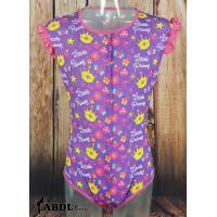 Onesie with Ruffled Sleeves, Purple Little Princess Print (KL361L-2) €19.50