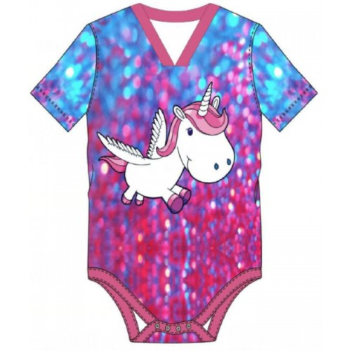 Cotton Onesie with Short Sleeves, Hippy Unicorn Print (KL365HIPPY) €18.95