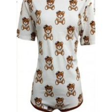 Cotton Onesie with Short Sleeves, Teddy Print
