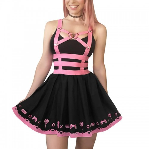 Black with Pink Teddy Bear Themed Dress
