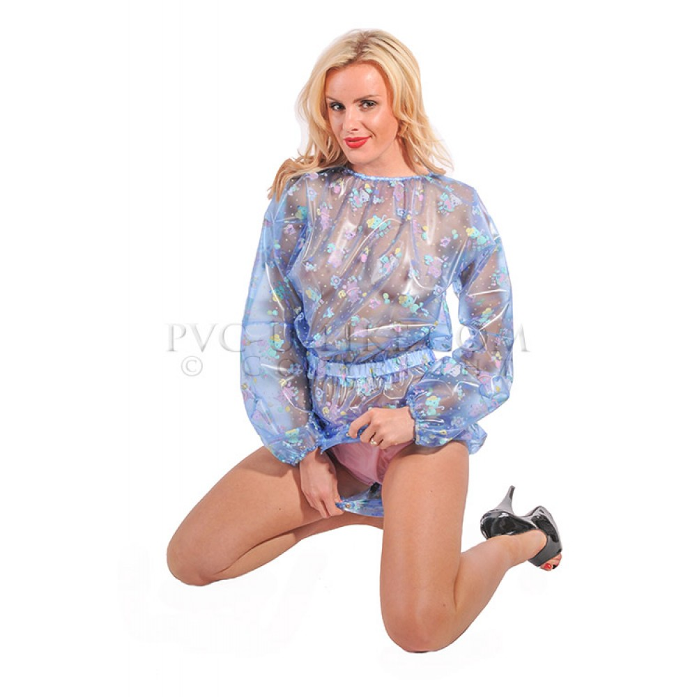 AB PVC Romper with Poppers in Crotch, Multicolor
