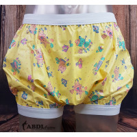 Extra Generous PVC Bloomers with Wide Elastics, Yellow Print (PB271YP-1) €39.50