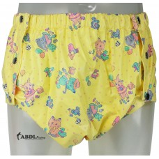 Shapely Plastic Pants with Snaps, Yellow Print