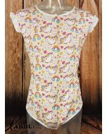 Onesie with Ruffled Sleeves, Rainbow Unicorn Print