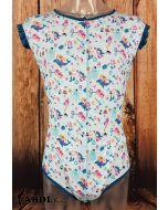 Onesie with Ruffled Sleeves, Blue Mermaid Print