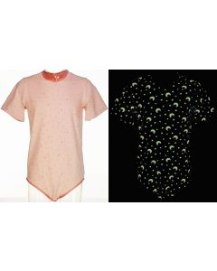 CareClo Print Body with Short Sleeves, Glow in Dark PINK