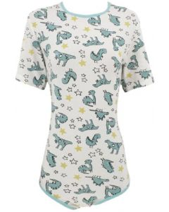 Cotton Onesie with Short Sleeves, Dino Print 1