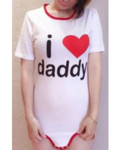 Cotton Onesie with Short Sleeves, I Love Daddy Print