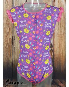 Onesie with Ruffled Sleeves, Purple Little Princess Print