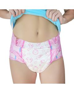 LittleForBig - Pink Nursery Brief Diapers, Plastic Backed
